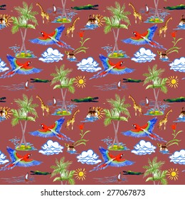Watercolor Tropical parrots, palm, clouds, boat, sailboat, dog, crocodile and giraffes exotic seamless pattern on red background vector illustration