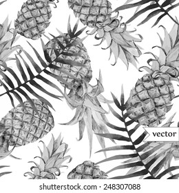watercolor, tropical, pineapple, exotic, pattern, black and white