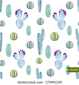 watercolor tropical vector pattern with white background Cactus