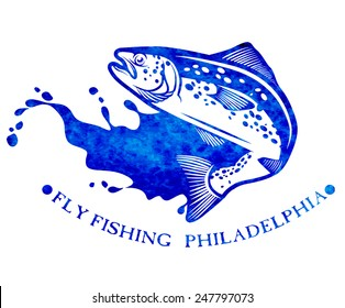 Watercolor trout fishing emblem