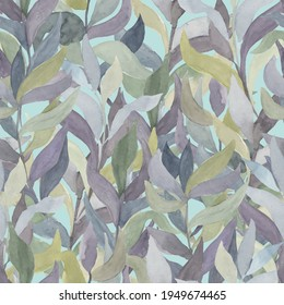 watercolor twigs with leaves of different colors on a colored background vector seamless pattern. Living wall of plants, hedge of climbing leaves and branches