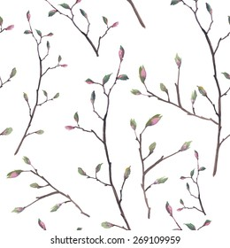 Watercolor twigs pattern. Seamless floral texture with branches, flower buds and leaves. Vector spring repeating background