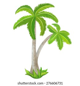 Watercolor two green coconut palm trees, island closeup isolated on white background. Hand painting on paper