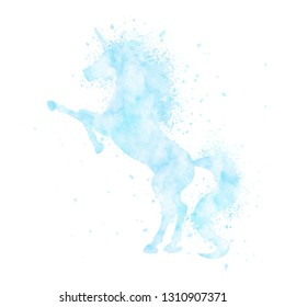 Watercolor unicorn silhouette painting with splatter isolated on white background. Blue magic creature vector illustration.