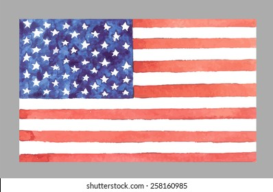 Watercolor USA Flag. Vector EPS 10