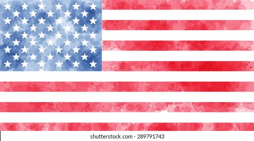 watercolor usa flag. vector illustration. dirty american flag background for banner Independence Day July 4. creative idea