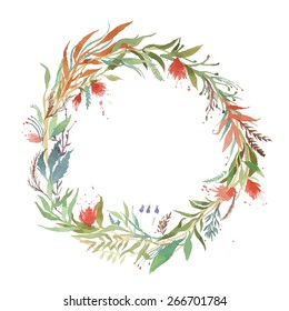 Watercolor vector abstract wreath. Floral frame design. Hand drawn vintage illustration