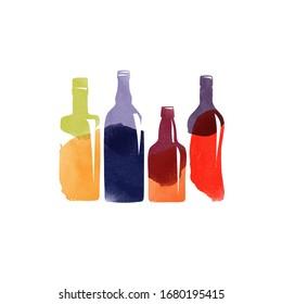 Watercolor vector alcoholic bottle set