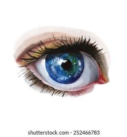 Watercolor vector artwork of a blue eye. Hand drawn illustration