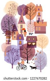Watercolor vector autumn  cityscape