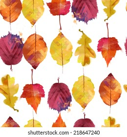 Watercolor vector autumn leaves pattern