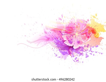 Watercolor vector background with colorful flowers. Abstract floral elements .