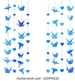 watercolor vector background with colorful garlands of origami cranes