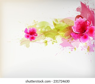 Watercolor vector background with Colorful poppy and blots