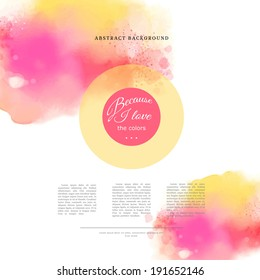 Watercolor vector background. Hand drawing with colored spots and blotches. Place for your text.