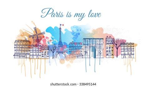 watercolor vector background of paris city