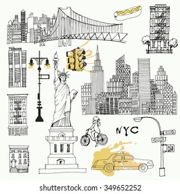 Watercolor vector background set of New York