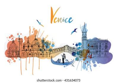 Watercolor vector background of Venice