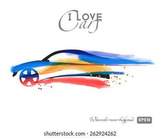 Watercolor vector car