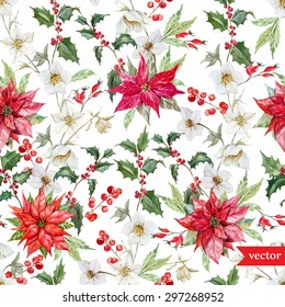 watercolor vector Christmas pattern, hellebore flowers, poinsettia, red berries, white background