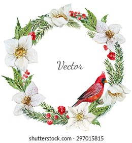 watercolor vector Christmas wreath, hellebore flower, tree, bird red cardinal