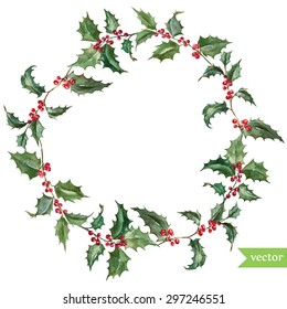 watercolor vector Christmas wreath holly plant