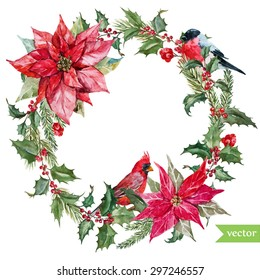 watercolor vector Christmas wreath poinsettia plant, tree, berries, bird bullfinch and red cardinal