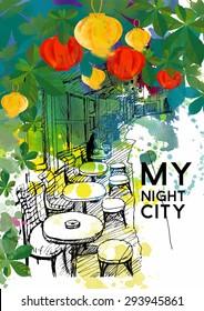 watercolor vector  city sketch background