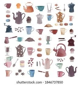 watercolor vector coffee retro set