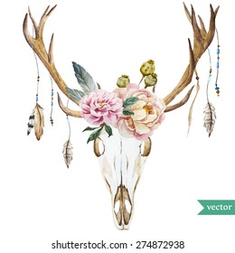 watercolor vector deer head with peony flowers