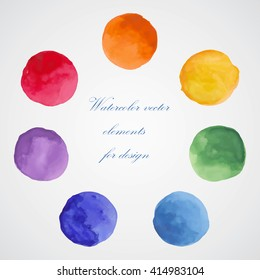 Watercolor vector elements for design. Colorful isolated paint circles.