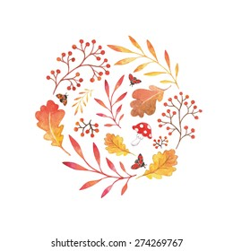 Watercolor vector elements of nature, red autumn forest