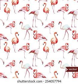watercolor, vector, flamingo pattern