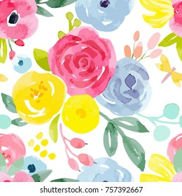 watercolor vector floral pattern. Summer bright floral pattern, a simple naive painting, blue flowers, yellow, pink roses. greeting card template
