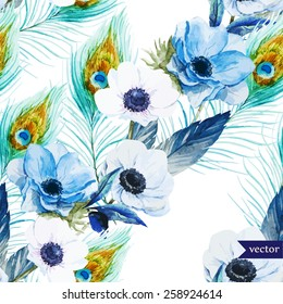 watercolor, vector, flowers, pattern, anemone, feathers, boho, wallpaper,