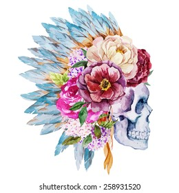 watercolor, vector, flowers, skull, peony, boho,