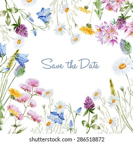 watercolor vector frame with delicate wildflowers, invitation card