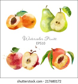 Watercolor vector fruits set of apricot, pear, peach and apple