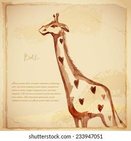 Watercolor vector giraffe