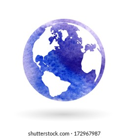 Watercolor vector Globe Icon.