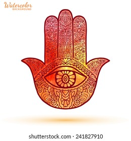 Watercolor vector hand drawn boho hamsa hand, protection amulet, symbol of strength and happiness, isolated design element on white background
