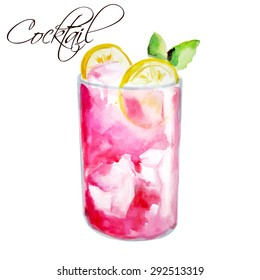 Watercolor vector illustration. Alcoholic cocktail or lemonade with ice, mint and lemon.  Illustration for cooking site, menus, books. Isolated
