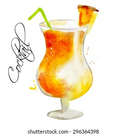 Watercolor vector illustration. Alcoholic cocktail,  Illustration for cooking site, menus, books. Isolated