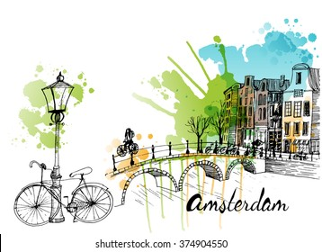 Watercolor vector illustration of Amsterdam