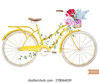 watercolor vector illustration bike basket with flowers