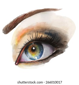 Watercolor vector illustration with a female eye. Hand drawn by watercolor