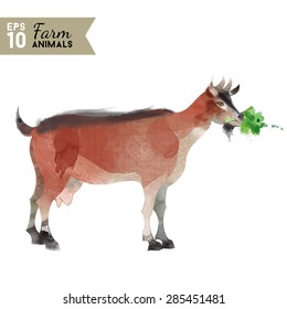 Watercolor vector illustration of goat