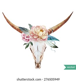 watercolor vector illustration head of a bull with peony and feathers in the style of bo-ho