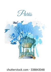 Watercolor vector illustration of Paris- Metro