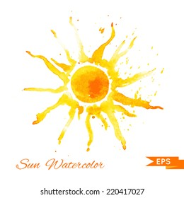 Watercolor vector illustration. Sun.